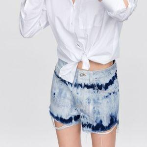 Zara Tie-dye Denim Shorts